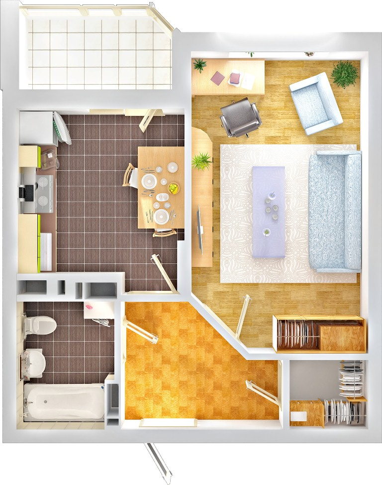 Дизайн двухкомнатной квартиры 42 кв метра